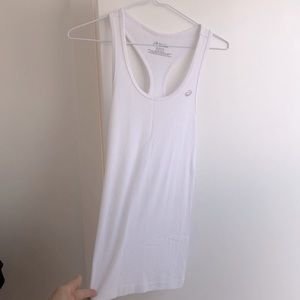 NWOT ASICS White Ribbed Fitted Racerback Tank, S